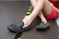 Lady Shoes Flat Heel Rivets Black White PU Round Toe 2012 3p...