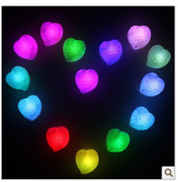 Wholesale Christmas gifts romantic colorful heart shaped rose lamp night light colorful gradients