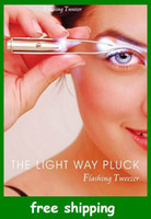 Wholesale LED Eyebrow Tweezers Light tweezer for lady makeup use Christmas Gifts Stainless steel