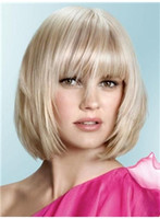 Wholesale Gorgeous Celebrity Hairstyle Medium Straight about Inches Platinum Blonde Shining Wig Free Shippin