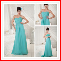 Real Sexy A- line BLUE Chiffon Long Factory Wholesale Simple ...