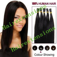 Wholesale 1g Keratin Glue Remy Stick tip I Tip Hair Extensions Indian Hair made quot Natural Black B Hot