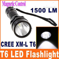 Wholesale Super bright LM Waterproof CREE XM L T6 LED Magnetic Control Flashlight can use underwater H8476
