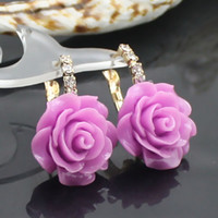 Wholesale mix order pairs zircon flower earrings Rhinestone resin Flower jewelry dangle earirng CE