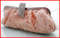 Wholesale Hot Sale Pink Ivory Red Lace Beaded Bridal Handbag Evening Party Clutch Womens Hand Bag Make up Bag