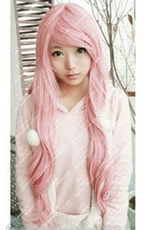 Wholesale New Fashion Long Curly Cosplay Light Pink Party Wig Wigs