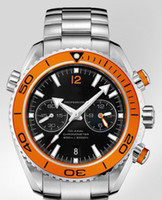 Wholesale LUXURY MENS DIVE WATCH HAND WINDER PLANET OCEAN AUTO CHRONO ORANGE BEZEL MEN DATE WATCHES