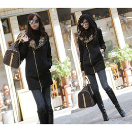 Wholesale New Stylish Women s Leopard Hoodie Jacket Coat Outerwear Zips Longline Style colors G0028