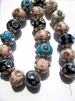Wholesale assortment large hole rondelle round silver embellished lac kashmiri beads with mixed rinestone x2