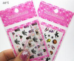 Wholesale Halloween D nail art designs nail decals us wrap STICKER decoration Discount skull snowflake online