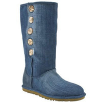 Wholesale U1962 Women s Cowboy Boots Blue denim Sheep fur snowboots Rubber Sole New Women s Jeans Boots