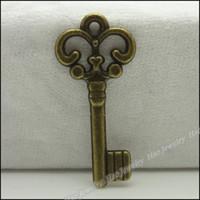 Wholesale Fashion key Pendants Antique bronze zinc alloy Metal Necklace DIY Jewelry Craft
