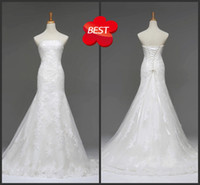 Wholesale Hot Simple Exquisite Strapless Trumpet Floor Length Beads Print Lace bandage Tulle Wedding Dresses