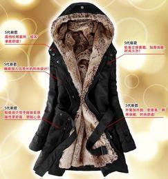 Wholesale Faux Fur Lining Women s Black Fur Coats Winter Warm Long Coat Drop Shipping size S XXL Color black army green beige