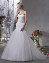 Wholesale 2012 New Mermaid Sweetheart Gathered Bodice with Flower on Waist Court Train Bridal Wedding Dresses