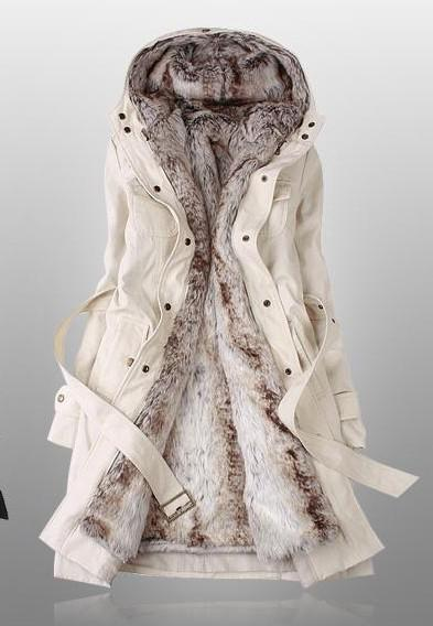 Amazing Faux Fur Lining Women's Beige Fur Coats Winter Warm Long ...