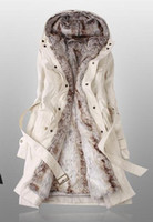 Wholesale Faux Fur Lining Women s Beige Fur Coats Winter Warm Long Coat Drop Shipping
