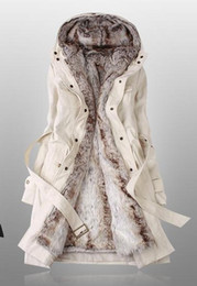 Wholesale Amazing Faux Fur Lining Women s Beige Fur Coats Winter Warm Long Coat Drop Shipping