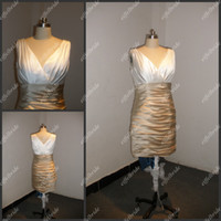 Wholesale Real Picture V Neckilne Ivory and Gold Elastic Satin Shirred Cocktail Dress Party Gown at Low Price