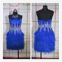 Wholesale Hot Selling Cocktail Dresses Bule Strapless Satin Sexy Knee Length Feather Rhinestone Cocktail Gowns