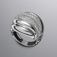 Wholesale R064 LARGE PAVE DIAMOND SCULPTED CABLE RING sterling silver ring silver ring Gemstone jewellery ring