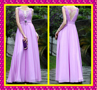 Beautiful Long Lavender Chiffon Formal Gowns Colorful Beads ...