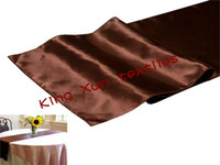 Wholesale 50pcs Chocolate satin table runner table runner satin runner price