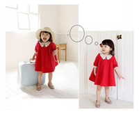 100% Cotton TuTu  Baby spring clothing baby dress lace edge dress girls Korean princess skirts Red Chirlden dress