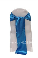 Wholesale Blue Satin chair sash satin chair tie chair cover Gold wedding chair sash