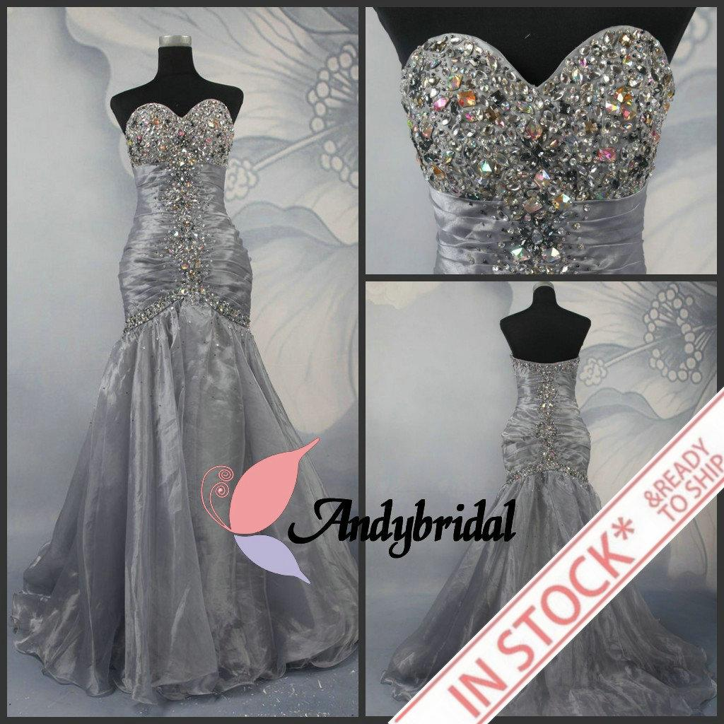 Cheap prom dresses silver long mermaid dresses evening for Cheap silver wedding dresses