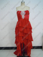 prom dresses 2012 - 2012 Latest Brilliant Beaded Strapless High_Low Prom Dresses Chiffon Tiered Ruffles Brush Train