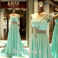 Wholesale Green Pleated Sash crystals Chiffon One Shoulder Column Brush Train Prom Dresses Evening Gowns H