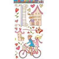 Wholesale Fashion home decro wall stickers Animal Paradise children room pink rabbit bicycle lovers