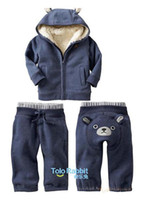 Wholesale 2012 Cotton amp fleece thick Baby clothes set winter baby suit hat fur coat hoodies pant M00042
