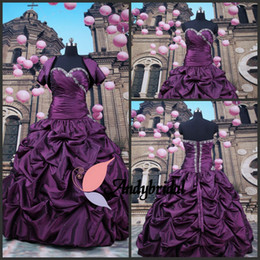 Wholesale Grape Purple Quinceanera Dresses with Jackets Sweetheart Lace up Ball Gowns with Short Sleeves Bolero Prom Dresses with Rhinestones