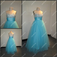 Wholesale Excellent Quality Blue A line Sweetheart Beaded Sequins Tulle Women s Evening Dresses