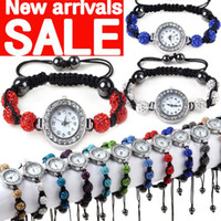 Wholesale DIY Mixed Color Crystal Beads Braid Bracelet Quartz Watch Bracelets Jewelry F107M