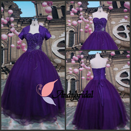 Wholesale Ball Gowns Prom Dresses Classic Sweetheart Bolero with Short Sleeves Beaded Purple Princess Gown Long Quinceanera Dresses with Bolero