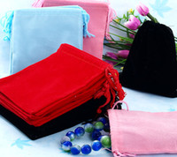 Jewelry Pouches,Bags   Free shipping Wholesale 100Pcs Mix Color 7x9cm Velvet Bag Jewelry Bag Velvet pouch, Pouch Bag Gift B