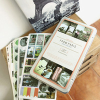 Wholesale Vintage lomo photo sticker pack Travel around the world Pairs set tin box creative stationery