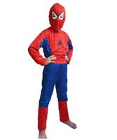 animal zentai - EMS Free Halloween Spider Man Suit Clothes Apparel Spiderman Costume Children Kids Boys Party Clothing New V3596