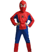 Unisex big boy costumes - Big discount Hot Sale Halloween Spider Man Suit Clothes Apparel Spiderman Costume Children Kids Boys New V3596