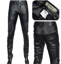 Wholesale New arrive Men s winter fashion high grade import rinsing PU black leather pants