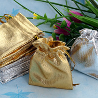 Wholesale HOT Gold Silver x7cm Drawstring Organza Jewelry Bag Organza Pouch Bag Christmas Wedding Birthday Easter Party Gift Pouch Bag