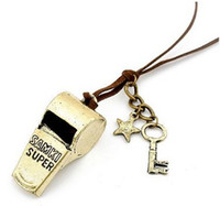 Wholesale Vintage Style Leather Chain Key Star Bronze Metal Whistle Pendant Necklace unisex