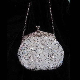 Free Shipping 2015 Crystal Sequin Beaded with Long and Short String Wedding Clutch Bridal Handbag Bridesmaid Purse