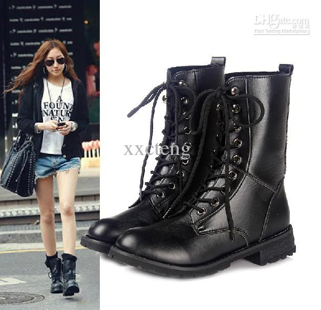 Autumn PU Boots Girl's Fashion Locomotive Boots Black Lacing ...