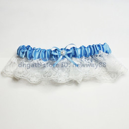 Wholesale Special Wedding Party Stuff Supplies Accessory Sky Blue Bridal Garters with Bow in White
