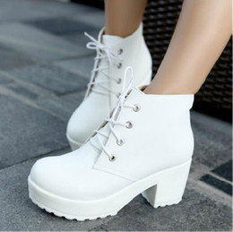 White Chunky Heel Platform Ankle Boots Online | White Chunky Heel