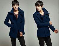 Wholesale Autumn and winter men s woolen coat Korean wind Slim Men s double breasted large lapel coat